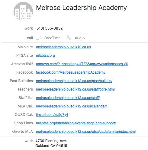 MLA contact card screen shot June 2016